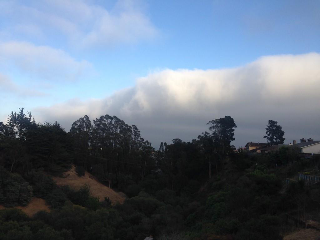 Marine layer, visible as fog over Monterey Bay, 29 July 2015. © Allison J. Gong