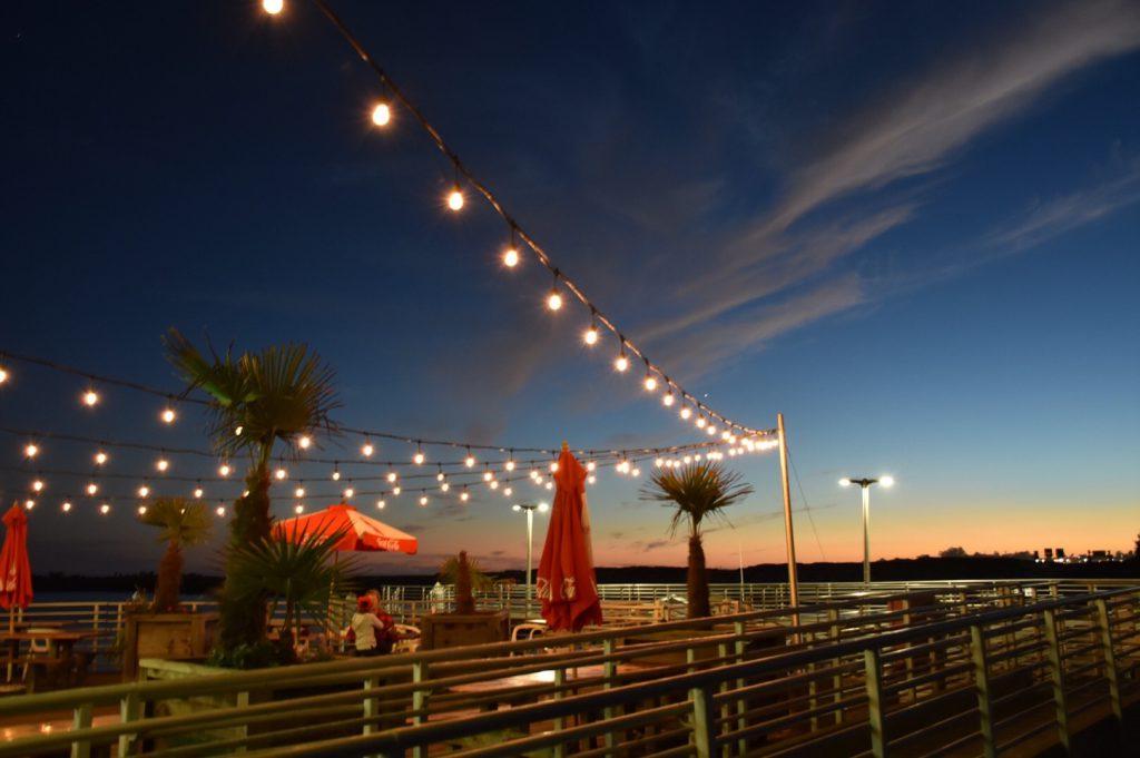 Evening lights at the Harbor Beach Cafe 22 October 2016 © Allison J. Gong