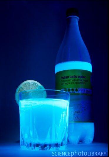 The quinine in tonic water fluoresces under UV light