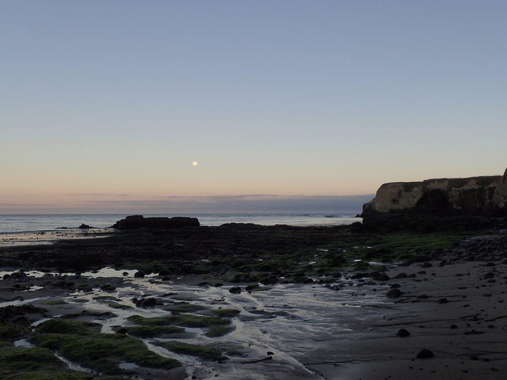 Full moon at dawn over Davenport Landing beach. 20 July 2016 © Allison J. Gong