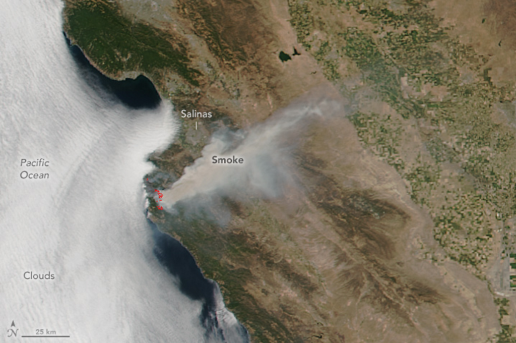 Soberanes fire, image captured by satellite. 24 July 2016 © Jeff Schmaltz, NASA