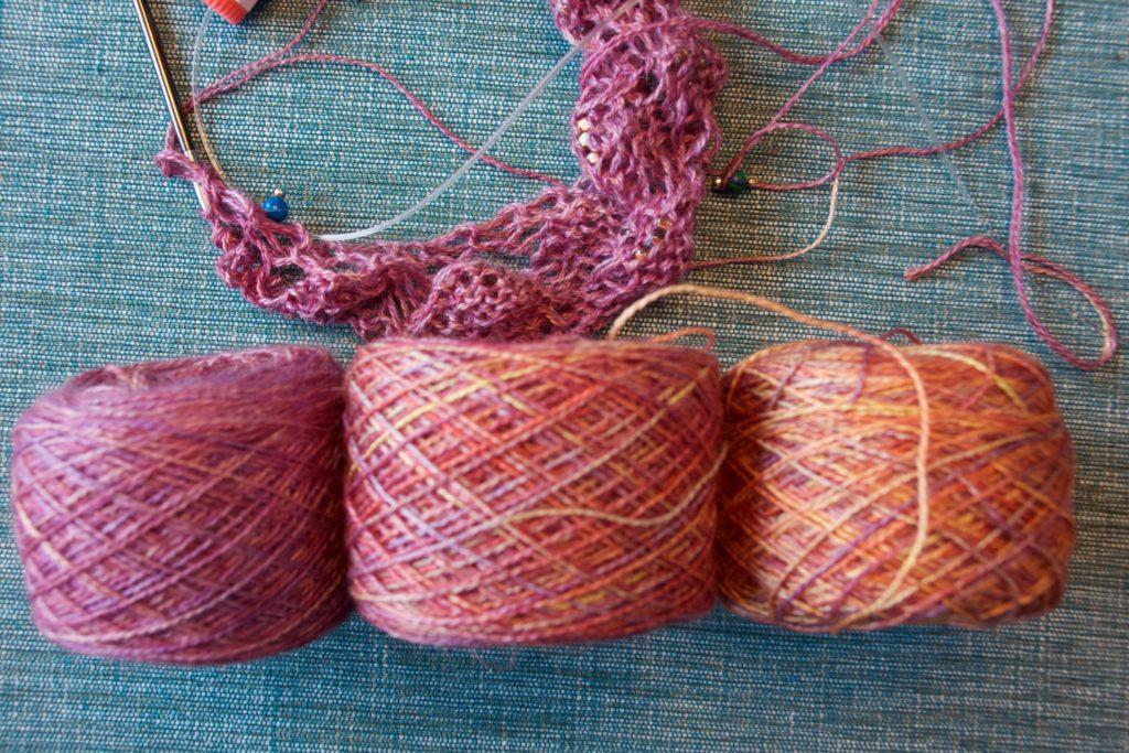 Three skeins of Malabrigo Silkpaca yarn, all in the colorway Archangel 27 October 2016 © Allison J. Gong