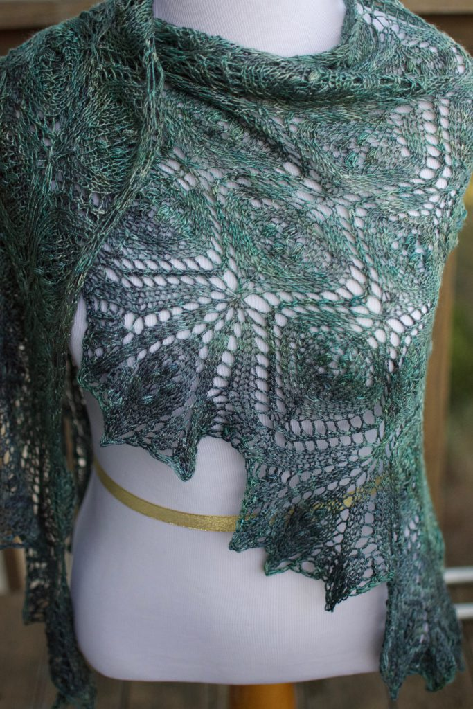 Knitted lace shawl 3 November 2016 © Allison J. Gong