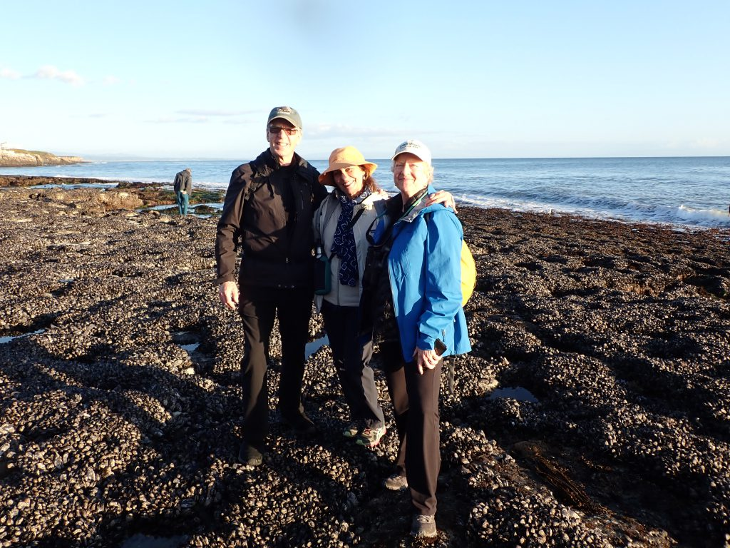 Andrew, Marla, and Betsy standing on intertidal mussel bed at Natural Bridges State Beach
